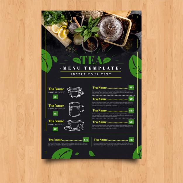 Thiết kế menu quán trà