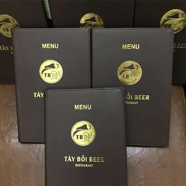 Thiết kế menu bìa da beer