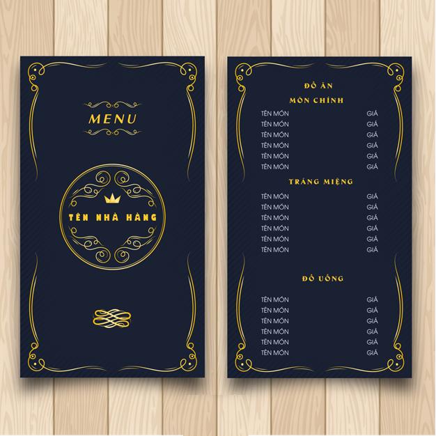 Thiết kế menu nhà hàng mới
