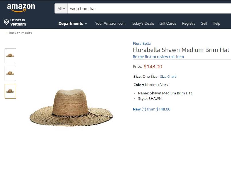 Sản phẩm mũ cói tại AMAZON thương hiệu
