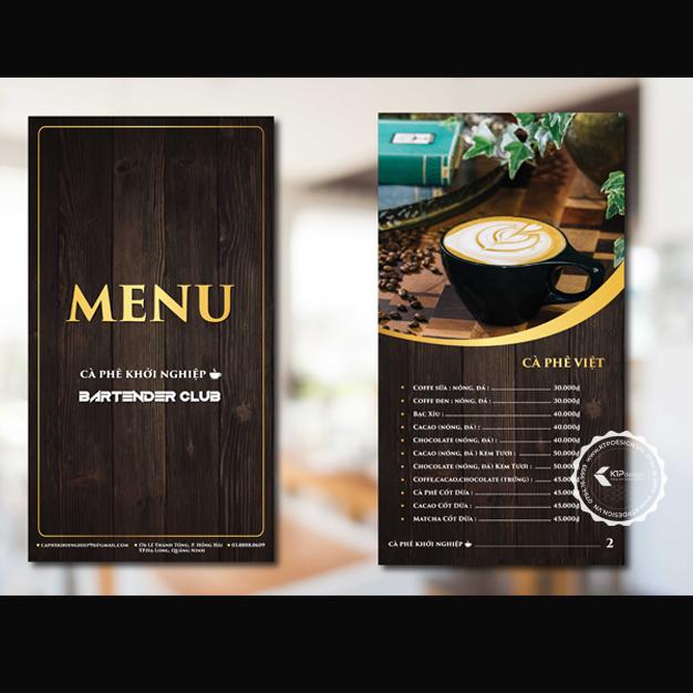 Mẫu menu quán cafe đẹp