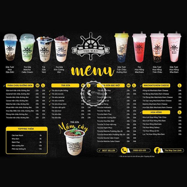 mẫu menu đồ uống
