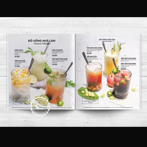 menu đồ uống