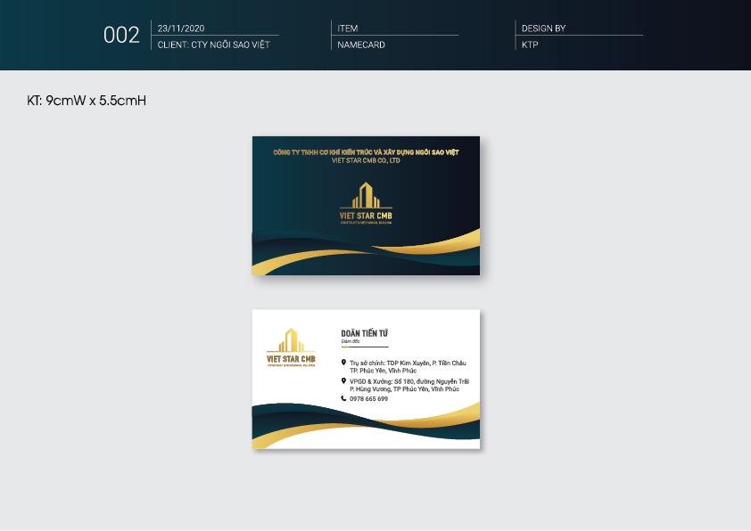 NameCard - Thiết kế nhận diện thương hiệu công ty xây dựng VietStar
