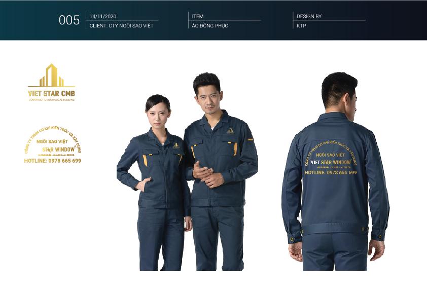 Đồng phục - Thiết kế nhận diện thương hiệu công ty xây dựng VietStar